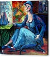 The Jeans Girl. 20 Years Later Acrylic Print by Elisheva Nesis