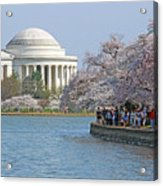 The Jefferson Memorial With Cherry Blossoms And A Lot Of People Acrylic Print