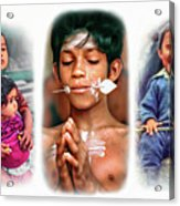 The Kids Of India Triptych Acrylic Print