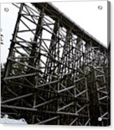 The Kinsol Trestle Panorama View On Snowy Day 1. Acrylic Print