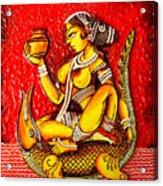 The Lady On Crocodile Acrylic Print