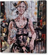 The Lady With The Fan Acrylic Print