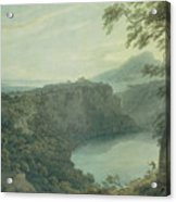 The Lake Of Nemi And The Town Of Genzano Acrylic Print