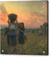 The Last Gleanings Acrylic Print by Jules Breton