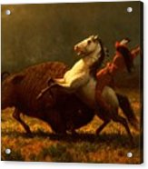 The Last Of The Buffalo Acrylic Print by Albert Bierstadt