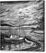 The Last Sunset Before Sailing Black And White Acrylic Print