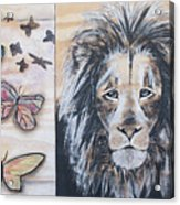 The Lion And The Butterflies Acrylic Print