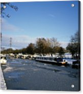 The Macclesfield Canal At Poynton In Winter And Frozen  Cheshire England Acrylic Print