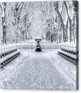The Mall In Snow Central Park Acrylic Print