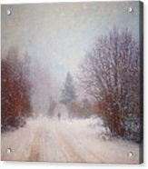 The Man In The Snowstorm Acrylic Print by Tara Turner