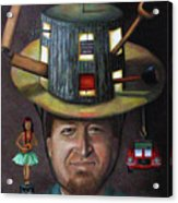 The Mechanic Part Of The Thinking Cap Series Acrylic Print by Leah Saulnier The Painting Maniac