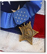The Medal Of Honor Rests On A Flag Acrylic Print