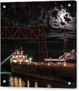 The Michipicoten's Departure Under A Full Moon Acrylic Print