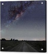 The Milky Way Galaxy Over A Rural Road Acrylic Print by Luis Argerich