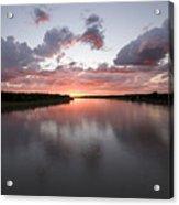 The Missouri River At Sunset Reflects Acrylic Print