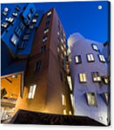 The Mit Stata Center At Night Kendall Square Cambirdge Ma Moon Front Acrylic Print