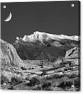 The Moon And The Mountain Range Acrylic Print