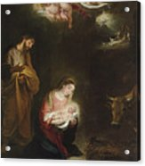 The Nativity With The Annunciation To The Shepherds Beyond Acrylic Print