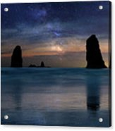 The Needles Rocks Under Starry Night Sky Acrylic Print