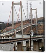 The New Alfred Zampa Memorial Bridge And The Old Carquinez Bridge . 7d8915 Acrylic Print by Wingsdomain Art and Photography