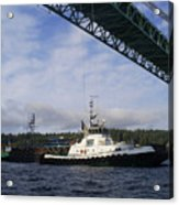 The New Tacoma Narrows Bridge - Foss Tug Acrylic Print