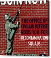 The Office Of Civilian Defense Needs You - Wpa Acrylic Print