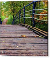 the old bridge over the river invites for a leisurely stroll in the autumn Park Acrylic Print