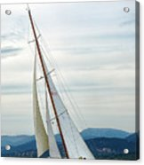 The Old Sailing Yacht At Competitions In The Gulf Of Saint Trope Acrylic Print