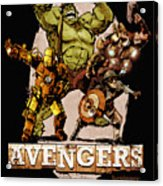 The Old Time-y Avengers Acrylic Print by Brian Kesinger