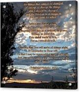 The Original Serenity Prayer Acrylic Print by Glenn McCarthy Art and Photography