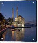 The Ortakoy Mosque And Bosphorus Bridge At Dusk Acrylic Print