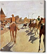 The Parade, Digitally Enhanced Highest Resolution,race Horses In Front Of The Tribune, Edgar Degas Acrylic Print
