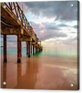 The Pastel Sky And The Jetty Acrylic Print