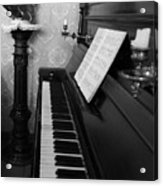 The Piano - Black And White Acrylic Print