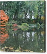 The Pond In Central Park In Fall Acrylic Print