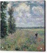 The Poppy Field Acrylic Print by Claude Monet