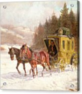 The Post Coach In The Snow Acrylic Print by Fritz van der Venne