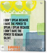 The Power To Speak- Contemporary Jewish Art By Linda Woods Acrylic Print