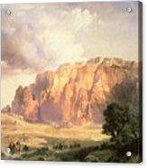 The Pueblo Of Acoma In New Mexico Acrylic Print by Thomas Moran