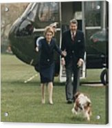 The Reagans Being Greeted By Their Dog Acrylic Print