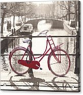 The Red Bicycle Of Amsterdam Acrylic Print