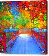 The Red Bridge In Autumn Acrylic Print