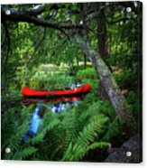 The Red Canoe On The Lake Acrylic Print
