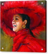 The Red Hat Acrylic Print by Billie Colson
