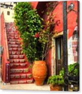 The Red Staircase Acrylic Print by Michael Garyet