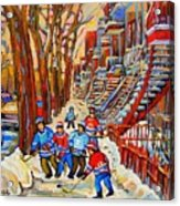 The Red Staircase Painting By Montreal Streetscene Artist Carole Spandau Acrylic Print
