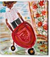 The Red Steel Barrow Acrylic Print by Mary Carol Williams