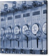 The Reel Spools On The Assembly Line In Blue Acrylic Print