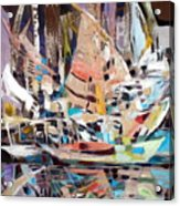 The Reflection Of Boats Acrylic Print by Therese AbouNader