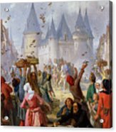 The Return Of Saint Louis Blanche Of Castille To Notre Dame Paris Acrylic Print by Pierre Charles Marquis